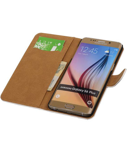 Samsung Galaxy S6 Edge Plus G928T Wit | Croco bookstyle / book case/ wallet case Hoes  | WN™ - hoesjeshoek