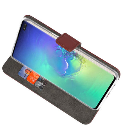 Samsung Samsung Galaxy S10 Plus Bruin | Wallet Case Hoesje  | WN™ - hoesjeshoek