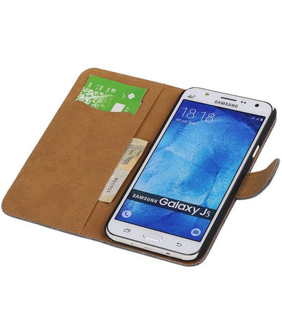 Samsung galaxy j5 2015 Grijs | Lizard bookstyle / book case/ wallet case Hoes  | WN™ - hoesjeshoek