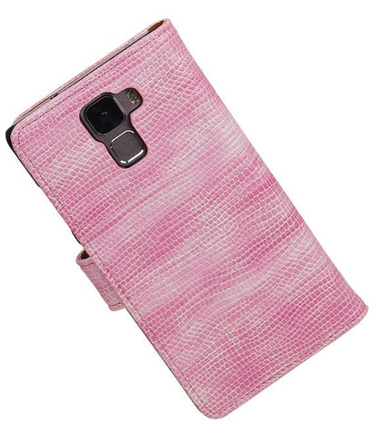 Huawei Honor 7 Roze | Lizard bookstyle / book case/ wallet case Hoes  | WN™ - hoesjeshoek