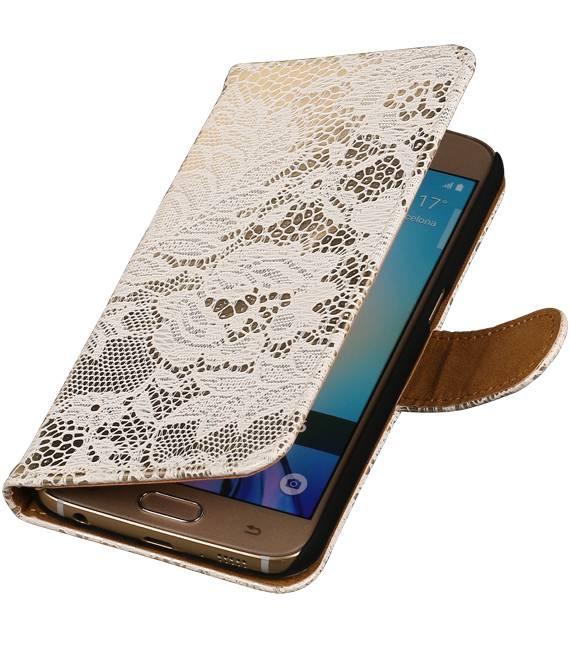 Samsung galaxy j2 2015 J200F Wit | Lace bookstyle / book case/ wallet case Hoes  | WN™ - hoesjeshoek