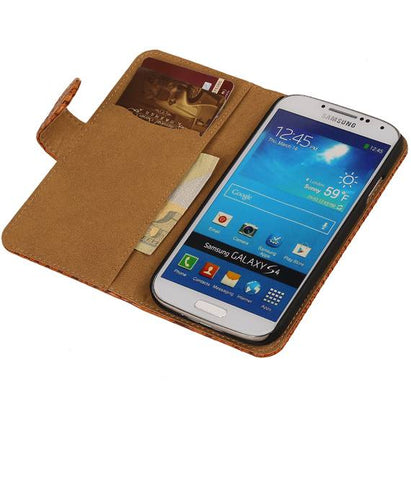 Samsung Galaxy Alpha G850 Bruin | Snake bookstyle / book case/ wallet case Hoes  | WN™ - hoesjeshoek