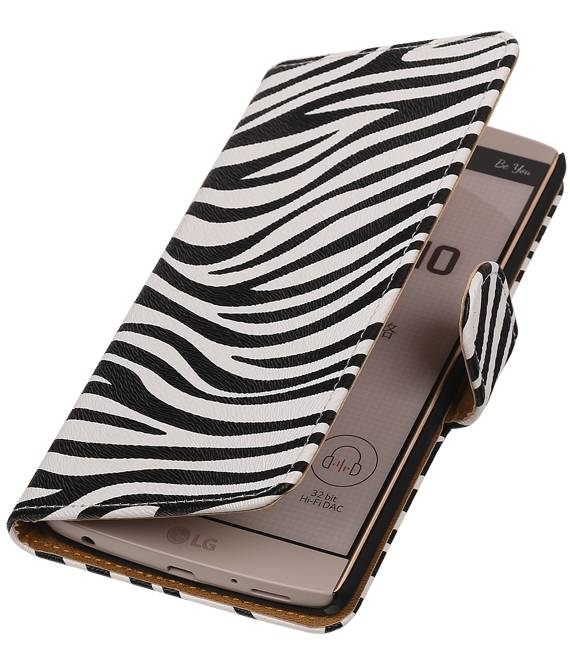 LG V10 Wit | Zebra bookstyle / book case/ wallet case Hoes  | WN™ - hoesjeshoek