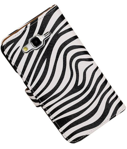 Samsung galaxy j7 2015 Wit | Zebra bookstyle / book case/ wallet case Hoes  | WN™ - hoesjeshoek