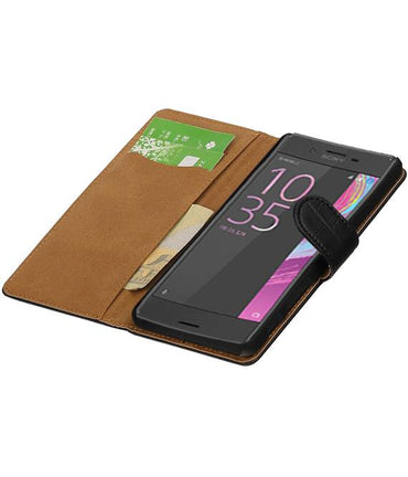 sony Xperia X Performance Zwart | Croco bookstyle / book case/ wallet case Hoes  | WN™ - hoesjeshoek