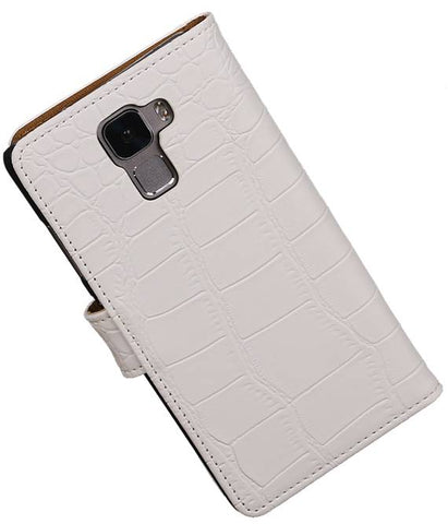 Huawei Honor 7 Wit | Croco bookstyle / book case/ wallet case Hoes  | WN™ - hoesjeshoek