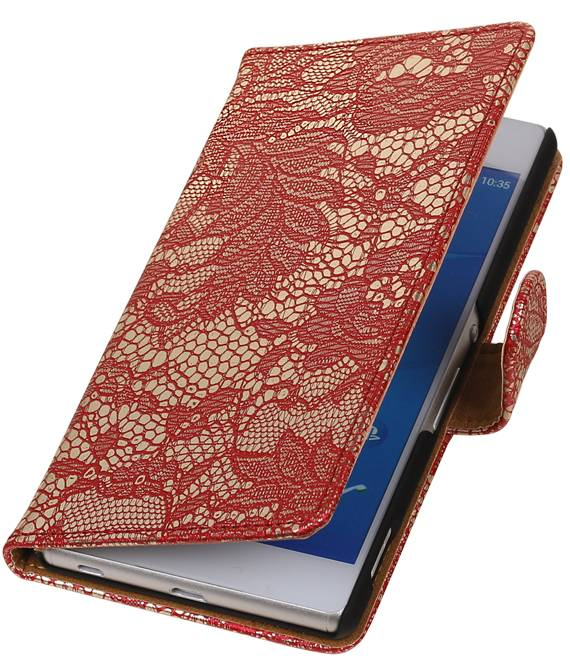 sony Xperia Z4 Z3+ Rood | Lace bookstyle / book case/ wallet case Hoes  | WN™ - hoesjeshoek
