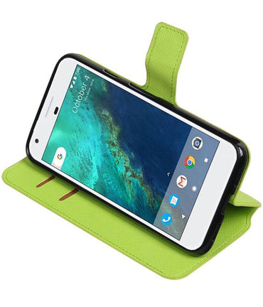 Google Pixel XL Groen | Cross Pattern TPU bookstyle / book case/ wallet case  | WN™ - hoesjeshoek