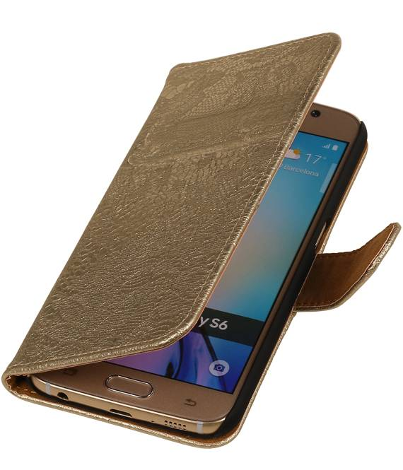 Samsung galaxy j2 2015 J200F Goud | Lace bookstyle / book case/ wallet case Hoes  | WN™ - hoesjeshoek