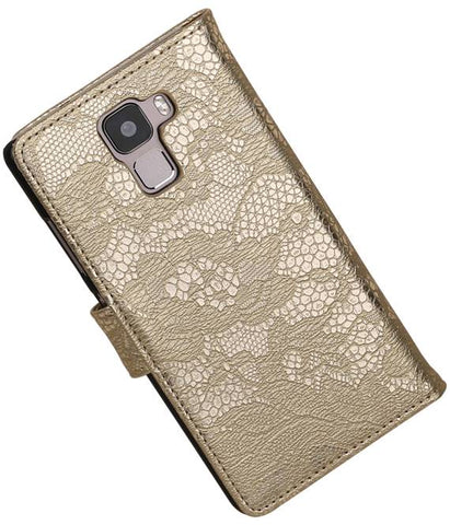 Huawei Honor 7 Goud | Lace bookstyle / book case/ wallet case Hoes  | WN™ - hoesjeshoek