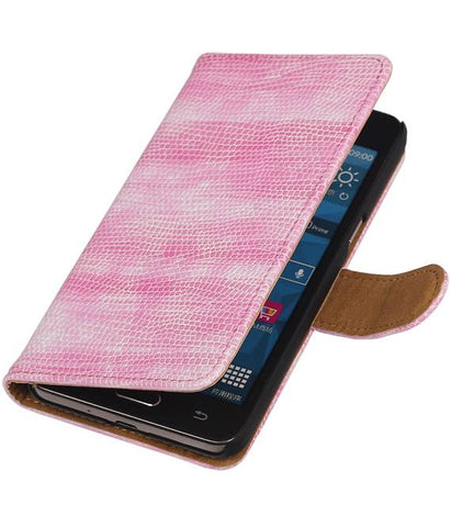 Samsung Galaxy Grand Prime G530F Roze | Lizard bookstyle / book case/ wallet case Hoes  | WN™ - hoesjeshoek