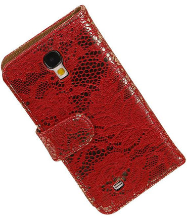 Huawei Honor 3C Rood | Lace bookstyle / book case/ wallet case Hoes  | WN™ - hoesjeshoek