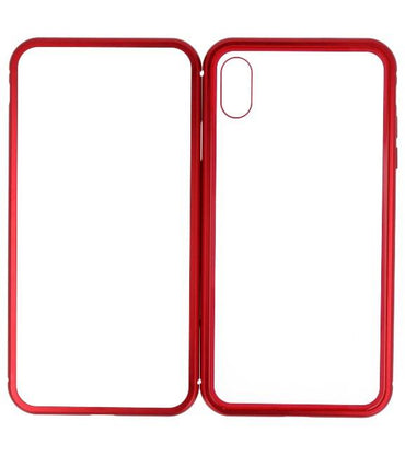 iPhone XS Max Rood - Transparant | Magnetic Back Cover  | WN™ - hoesjeshoek