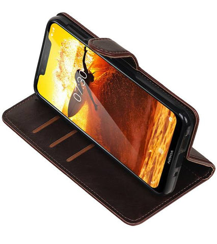 Nokia 8.1 Mocca | Premium bookstyle / book case/ wallet case  | WN™ - hoesjeshoek