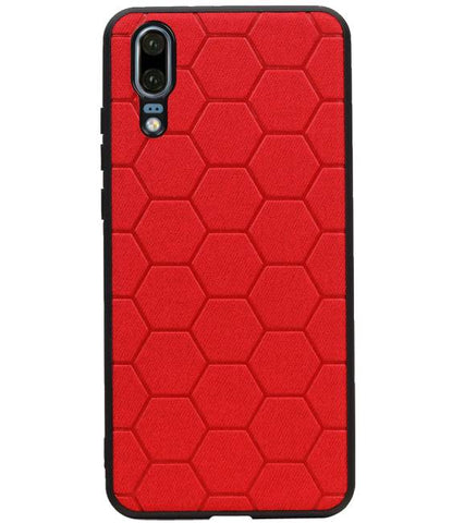 Huawei P20 Rood | Hexagon Hard Case  | WN™ - hoesjeshoek