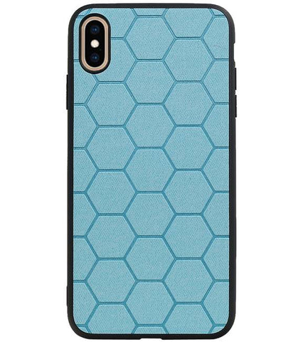 iPhone XS Max Blauw | Hexagon Hard Case  | WN™ - hoesjeshoek