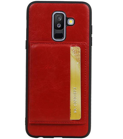 Samsung Galaxy A6 Plus 2018 Rood | Staand Back Cover 1 Pasjes  | WN™ - hoesjeshoek