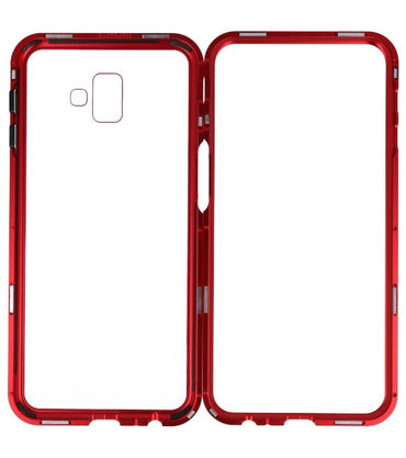 Samsung Galaxy J6 Plus Rood - Transparant | Magnetic Back Cover  | WN™ - hoesjeshoek