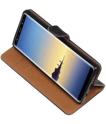 Samsung Galaxy Note 8 Zwart | Premium TPU PU Leder bookstyle / book case/ wallet case  | WN™ - hoesjeshoek