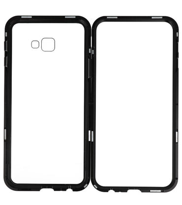 Samsung Galaxy J4 Plus Zwart - Transparant | Magnetic Back Cover  | WN™ - hoesjeshoek