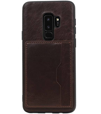 Samsung Galaxy S9 Plus Mocca | Staand Back Cover 1 Pasjes  | WN™ - hoesjeshoek