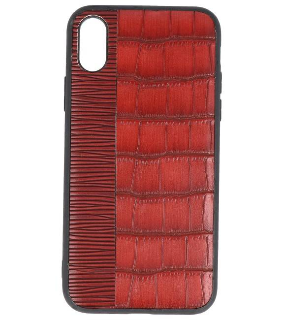 iPhone X Rood | Croco Hard Case  | WN™ - hoesjeshoek