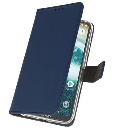 Motorola Moto One Power Navy | Wallet Case Hoesje  | WN™ - hoesjeshoek