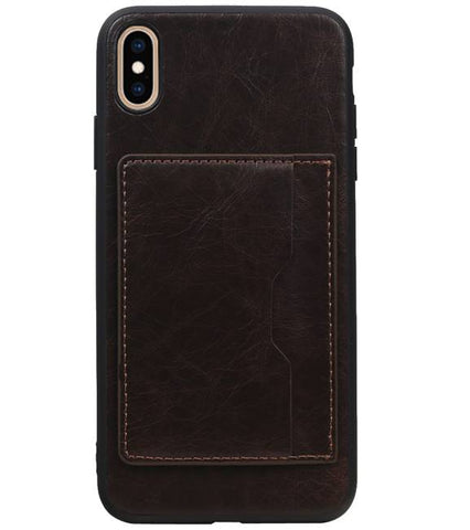 iPhone XS Max Mocca | Staand Back Cover 1 Pasjes  | WN™ - hoesjeshoek