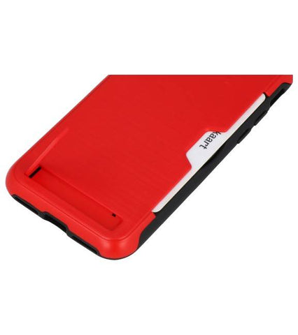 iPhone XR Rood | Tough Armor Kaarthouder Stand Hoesje  | WN™ - hoesjeshoek