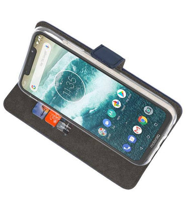 Motorola Moto One Navy | Wallet Case Hoesje  | WN™ - hoesjeshoek