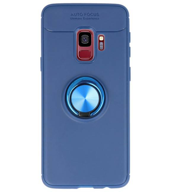 Samsung Galaxy S9 Hoesje met Ring Houder Navy | Softcase  | WN™ - hoesjeshoek
