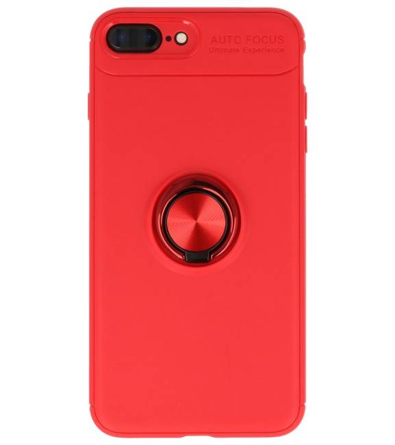 iPhone 8 / 7 Plus Hoesje met Ring Houder Rood | Softcase  | WN™ - hoesjeshoek