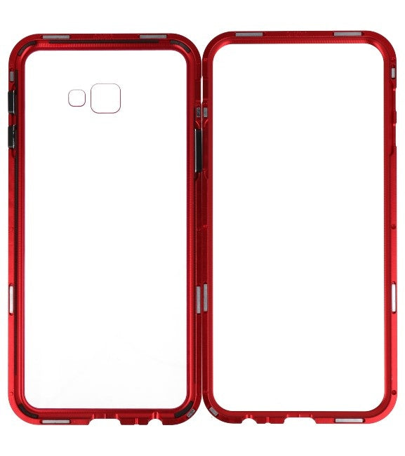 Samsung Galaxy J4 Plus Rood - Transparant | Magnetic Back Cover  | WN™ - hoesjeshoek