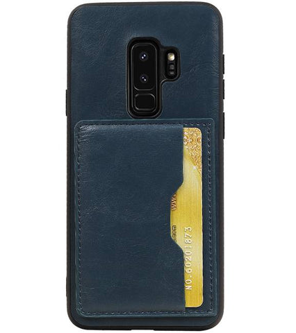 Samsung Galaxy S9 Plus Navy | Staand Back Cover 1 Pasjes  | WN™ - hoesjeshoek