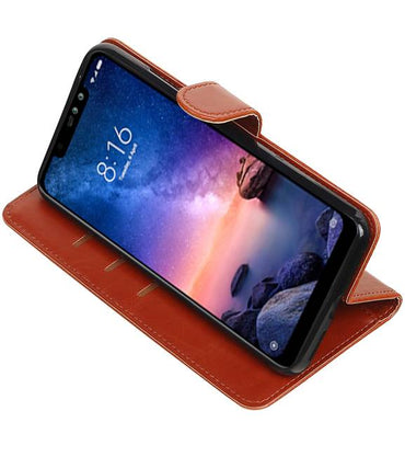 XiaoMi Redmi Note 6 Pro Bruin | Premium bookstyle / book case/ wallet case  | WN™ - hoesjeshoek