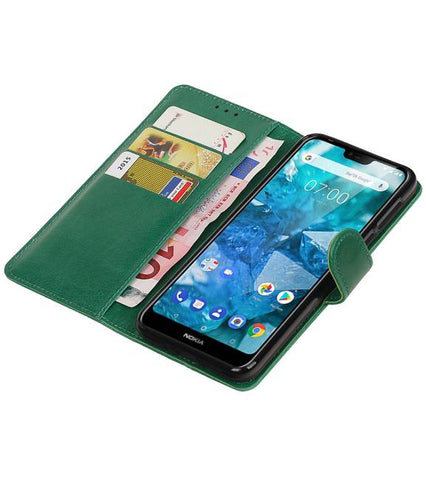 Nokia 7.1 Groen | Premium bookstyle / book case/ wallet case  | WN™ - hoesjeshoek