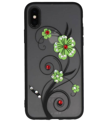 iPhone X Groen | Diamand Lelies Hoesjes Cases  | WN™ - hoesjeshoek