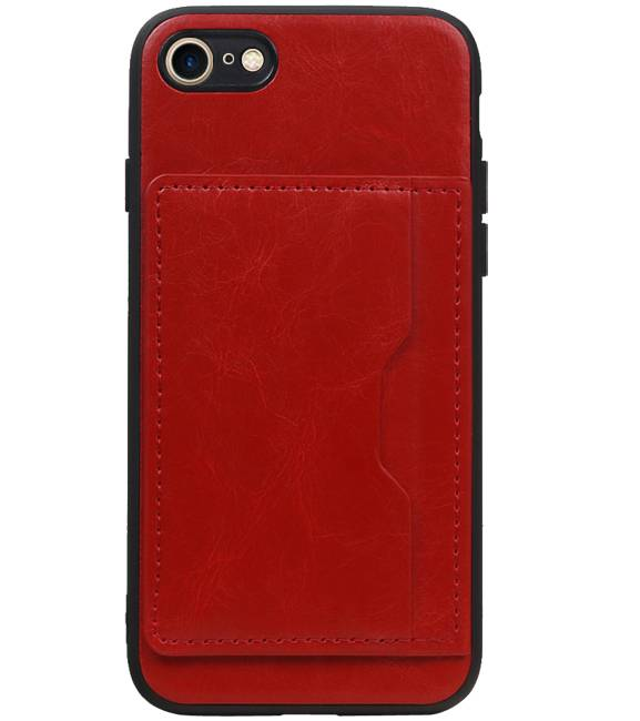 iPhone 8 / 7 Rood | Staand Back Cover 1 Pasjes  | WN™ - hoesjeshoek