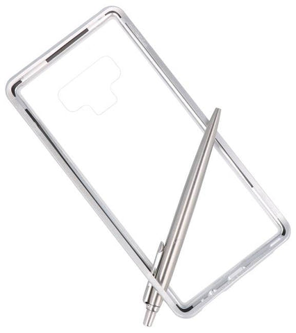 Samsung Galaxy Note 9 Zilver -Transparant | Magnetic Back Cover  | WN™ - hoesjeshoek