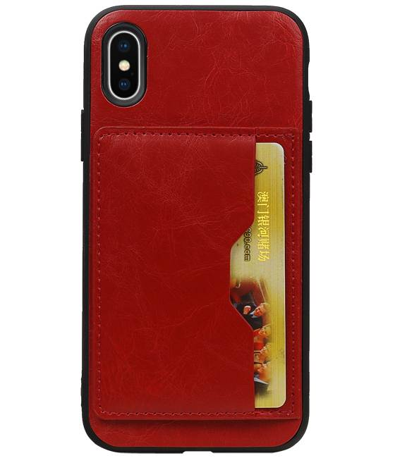 iPhone X Rood | Staand Back Cover 1 Pasjes  | WN™ - hoesjeshoek