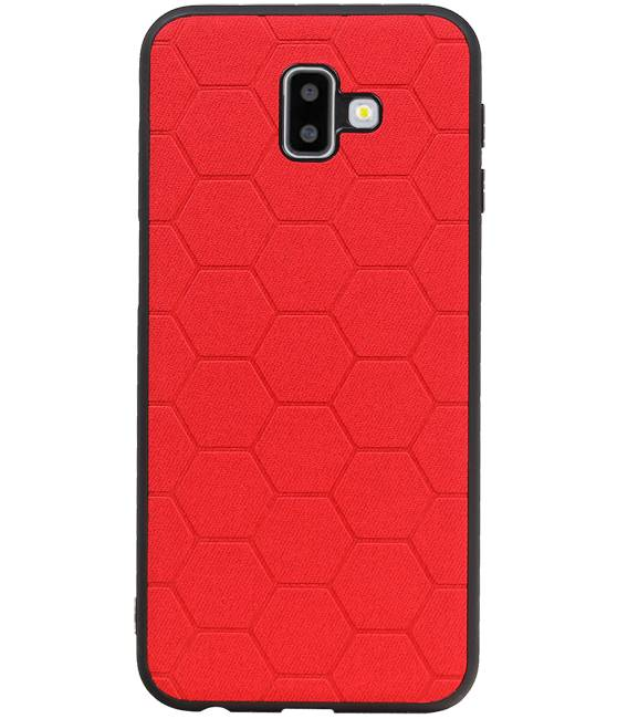 Samsung Samsung Galaxy J6 Plus Rood | Hexagon Hard Case  | WN™ - hoesjeshoek
