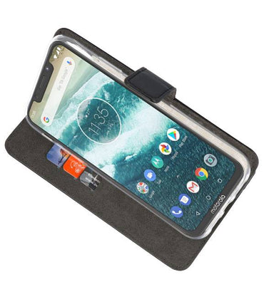 Motorola Moto One Power Zwart | Wallet Case Hoesje  | WN™ - hoesjeshoek