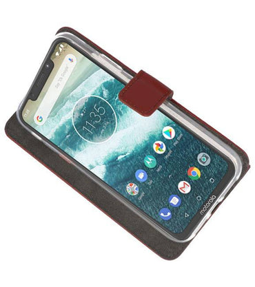 Motorola Moto One Power Bruin | Wallet Case Hoesje  | WN™ - hoesjeshoek