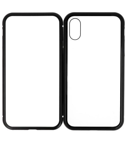 iPhone XS Zwart - Transparant | Magnetic Back Cover  | WN™ - hoesjeshoek