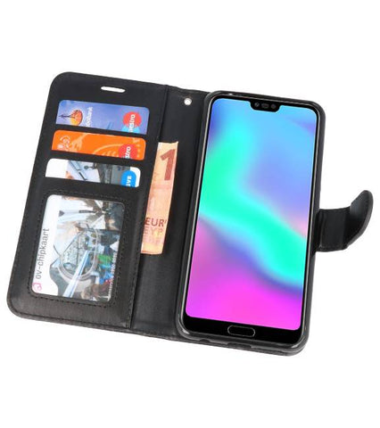 Honor 10 Zwart | Wallet Case Hoesje  | WN™ - hoesjeshoek