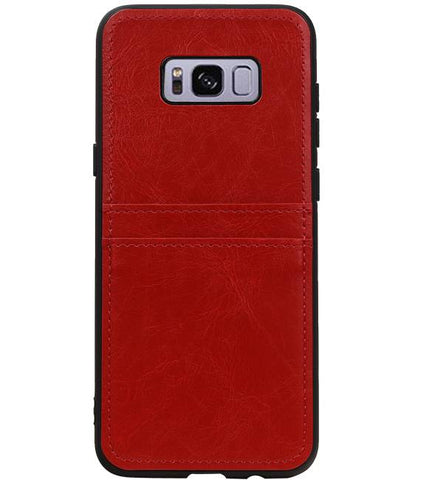 Samsung Galaxy S8 Plus Rood | Back Cover 2 Pasjes  | WN™ - hoesjeshoek