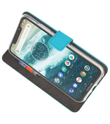 Motorola Moto One Power Blauw | Wallet Case Hoesje  | WN™ - hoesjeshoek
