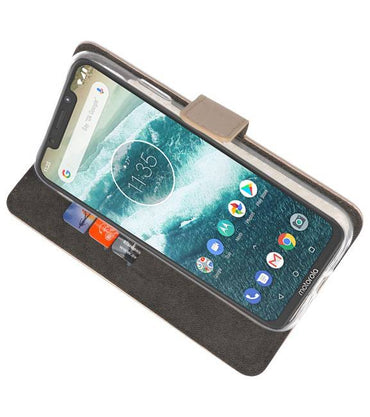 Motorola Moto One Power Goud | Wallet Case Hoesje  | WN™ - hoesjeshoek
