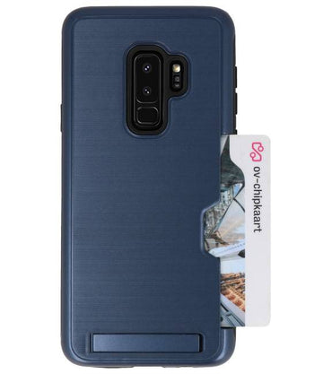 Samsung Galaxy S9 Plus Navy | Tough Armor Kaarthouder Stand Hoesje  | WN™ - hoesjeshoek