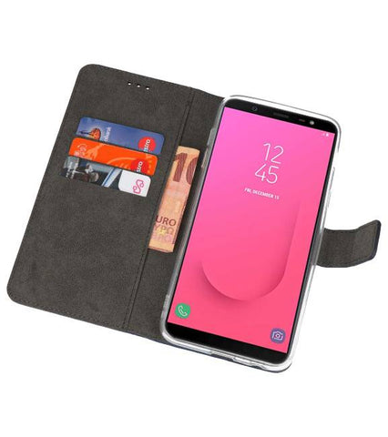 Samsung Galaxy J8 Navy | Wallet Case Hoesje  | WN™ - hoesjeshoek
